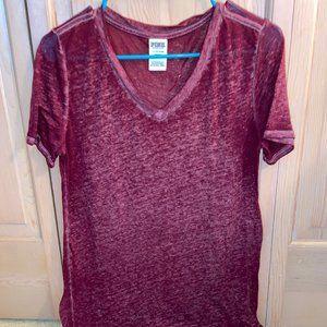 VS Pink Loungewear Maroon V-neck Tee
